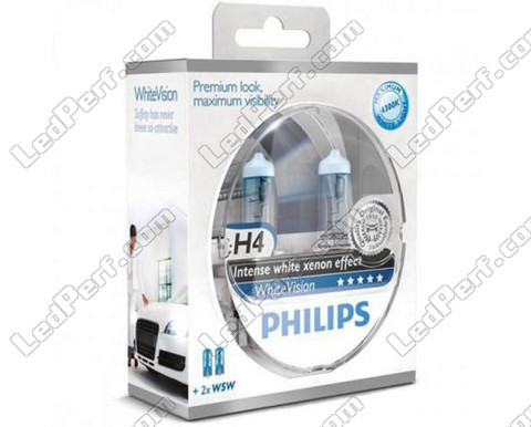 Pack de 2 Ampoules H4 Philips WhiteVision + 2 W5W WhiteVision