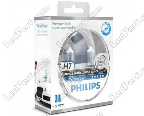 pack de 2 ampoules h7 philips whitevision 2 w5w whitevision. Black Bedroom Furniture Sets. Home Design Ideas