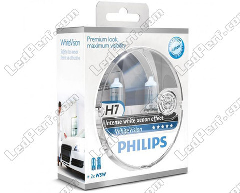 Pack de 2 Ampoules H7 Philips WhiteVision + 2 W5W WhiteVision