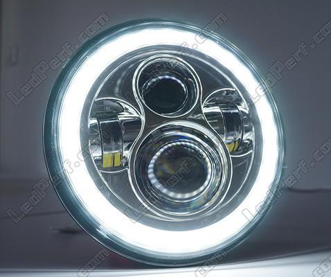 optique moto full led noir pour phare rond 7 pouces type 5. Black Bedroom Furniture Sets. Home Design Ideas