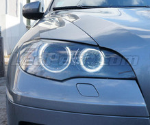 Pack angel eyes H8 à leds (blanc pur 6000K) pour BMW X6 (E71 E72) - MTEC V3.0