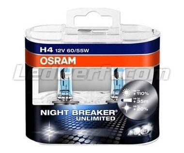pack de 2 ampoules h4 osram night breaker unlimited 3900k. Black Bedroom Furniture Sets. Home Design Ideas